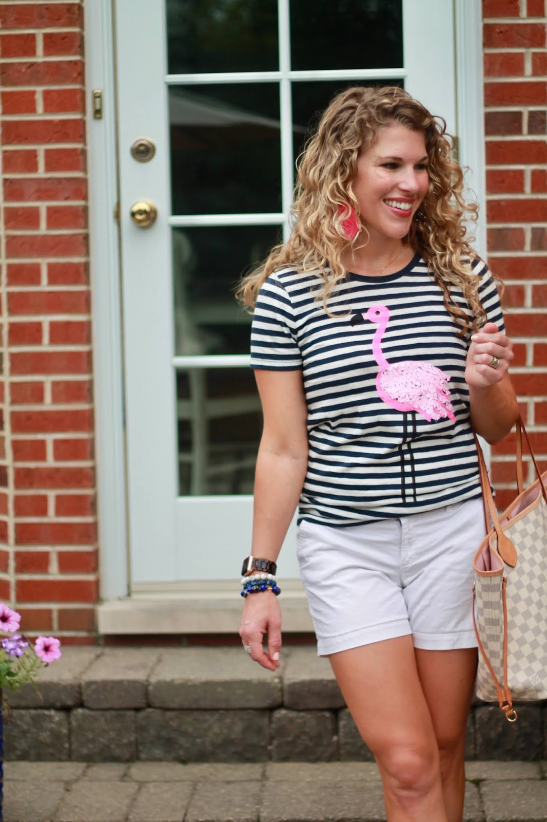 sequin flamingo tee, flamingo graphic tee, summer outfit, tee and white shorts outfit