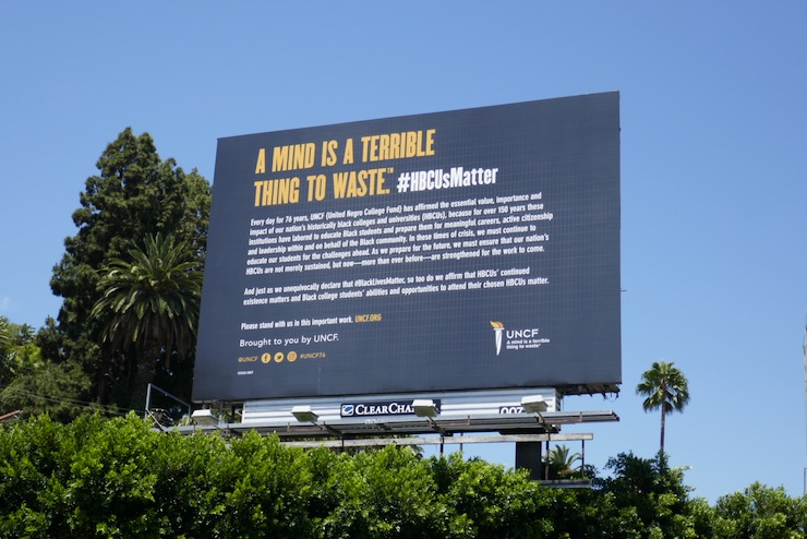A Mind Is A Terrible Thing To Waste UNCF billboard
