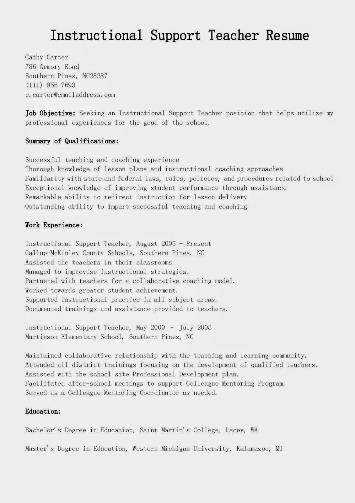 michigan state sample resume