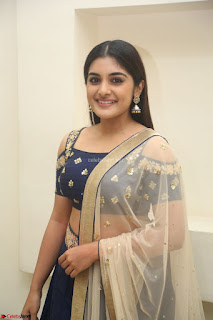Niveda Thomas in Lovely Blue Cold Shoulder Ghagra Choli Transparent Chunni ~  Exclusive Celebrities Galleries 011