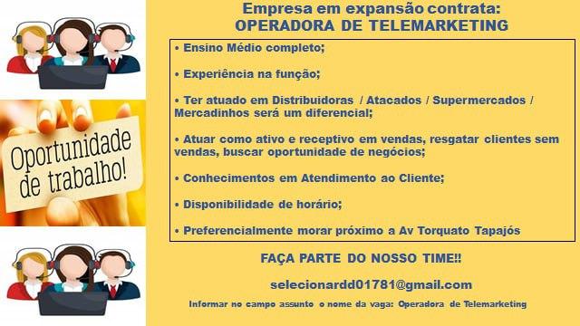 OPERADORA DE TELEMARKETING