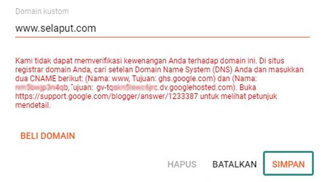 save custom domain settings