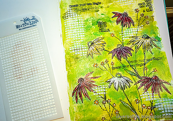Layers of ink - Cone Flower Art Journal Page by Anna-Karin Evaldsson. Add texture with a stencil.