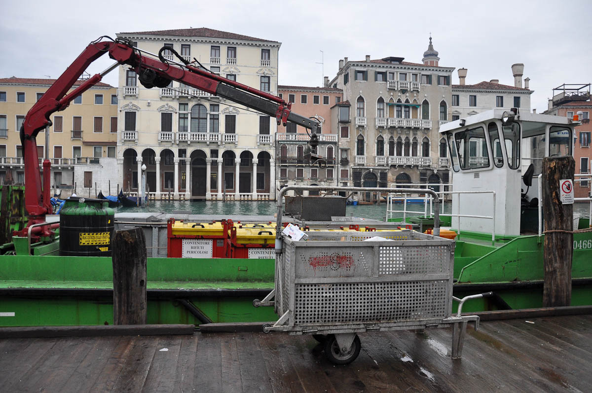Rubbish removal boat, Rialto Market, Venice, Italy
