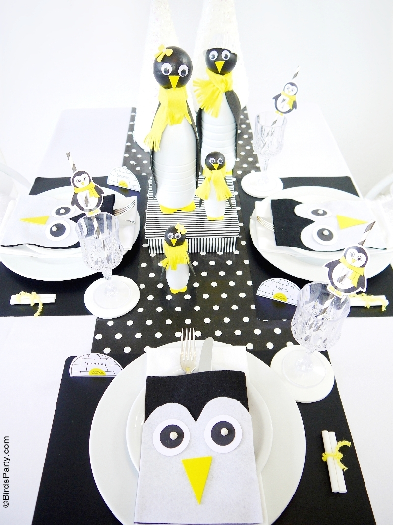 A Penguin Themed Kids Christmas Holiday Tablescape  - BirdsParty.com