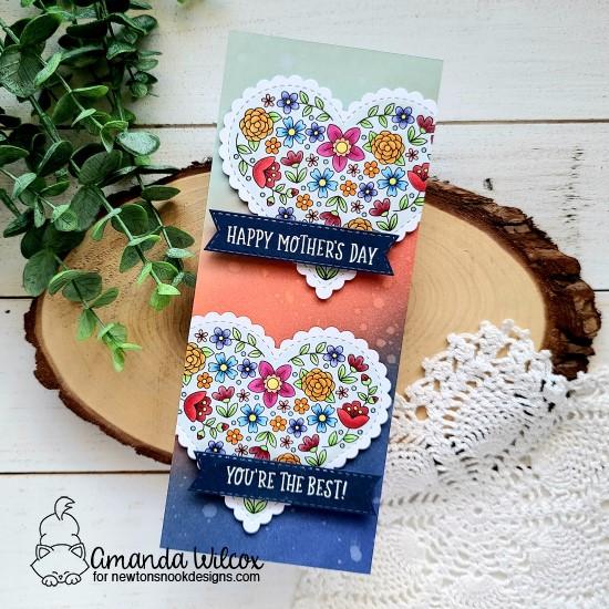 Mother's Day Card by Amanda Wilcox | Heartfelt Blooms Stamp Set, Mom & Dad Stamp Set, Heart Frames Die Set and Banner Trio Die Set by Newton's Nook Designs #newtonsnook