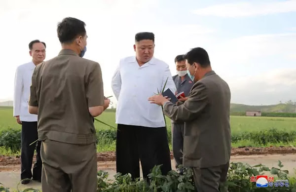 Kim Jong Un at typhoon-stricken area in South Hwanghae Province