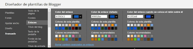 Configurar color enlaces blog
