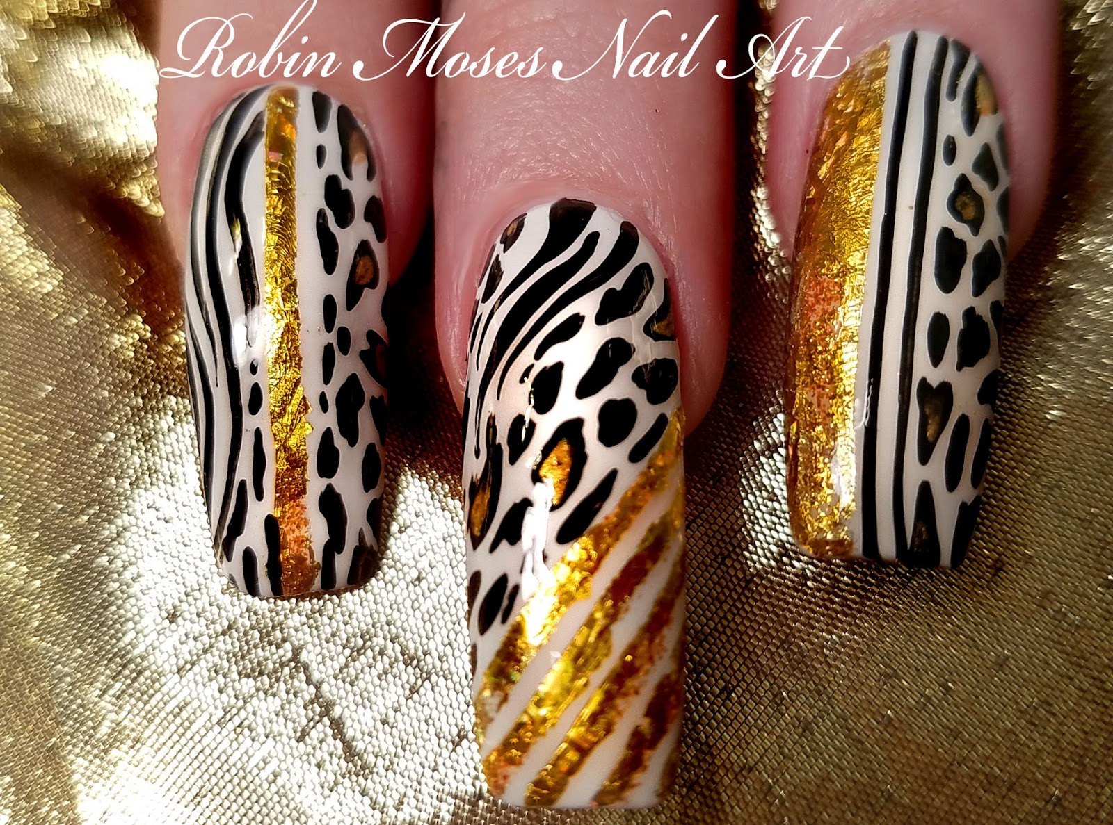 Nail Art By Robin Moses Long Black And White Animal Print With Gold