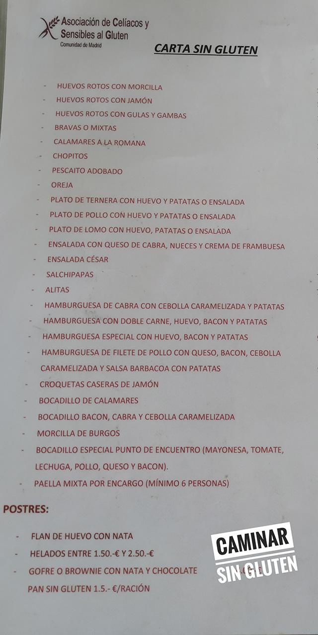 CARTA SIN GLUTEN POLIDEPORTIVO SURESTE RIVAS VACIAMADRID