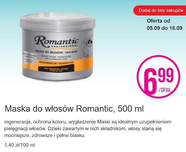 Maska do włosów Romantic - Biedronka, promocja
