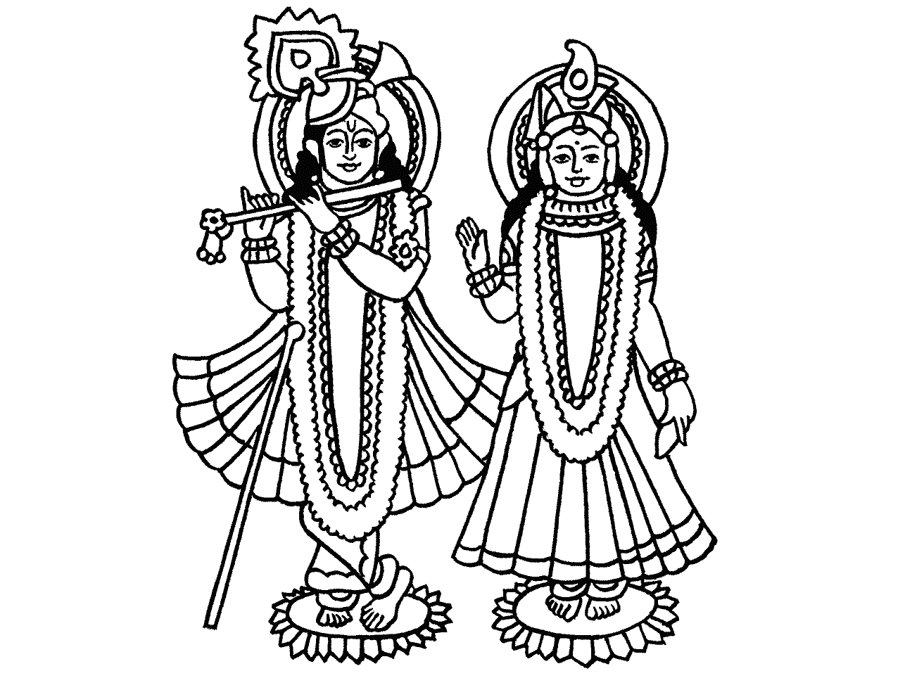 Lord Krishna Radha Coloring Pictures