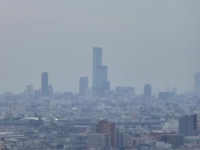 生駒山の麓 枚岡梅林からの眺望  あべのハルカス
