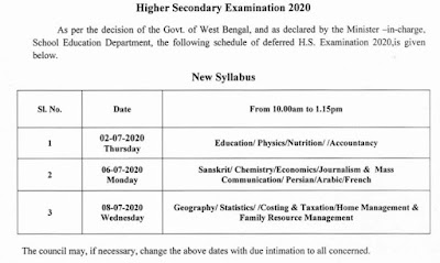 WB CHSE 12th Class Exam Time Table 2020 Revised