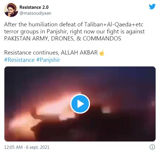 Bernard Grua - «Après la défaite humiliante des groupes terroristes Taliban+Al-Qaïda+etc au Pandjchir, en ce moment notre combat est contre l'ARMÉE PAKISTANAISE, SES DRONES ET SES COMMANDOS»