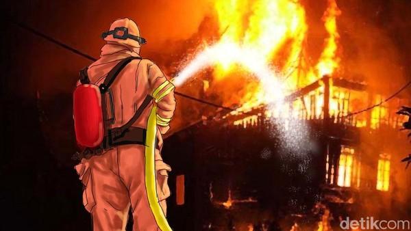 Kebakaran Pasar Inpres Pasar Minggu Belum Padam, 31 Mobil Damkar Dikerahkan