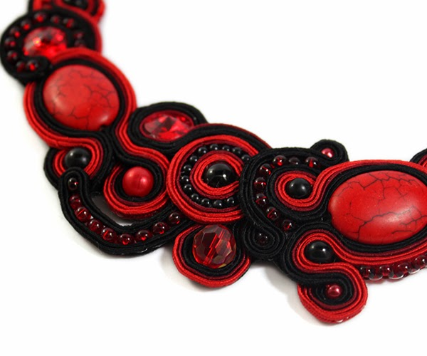 beautiful soutache necklace, claret, red and black colours, jasper, howlit swarovski
