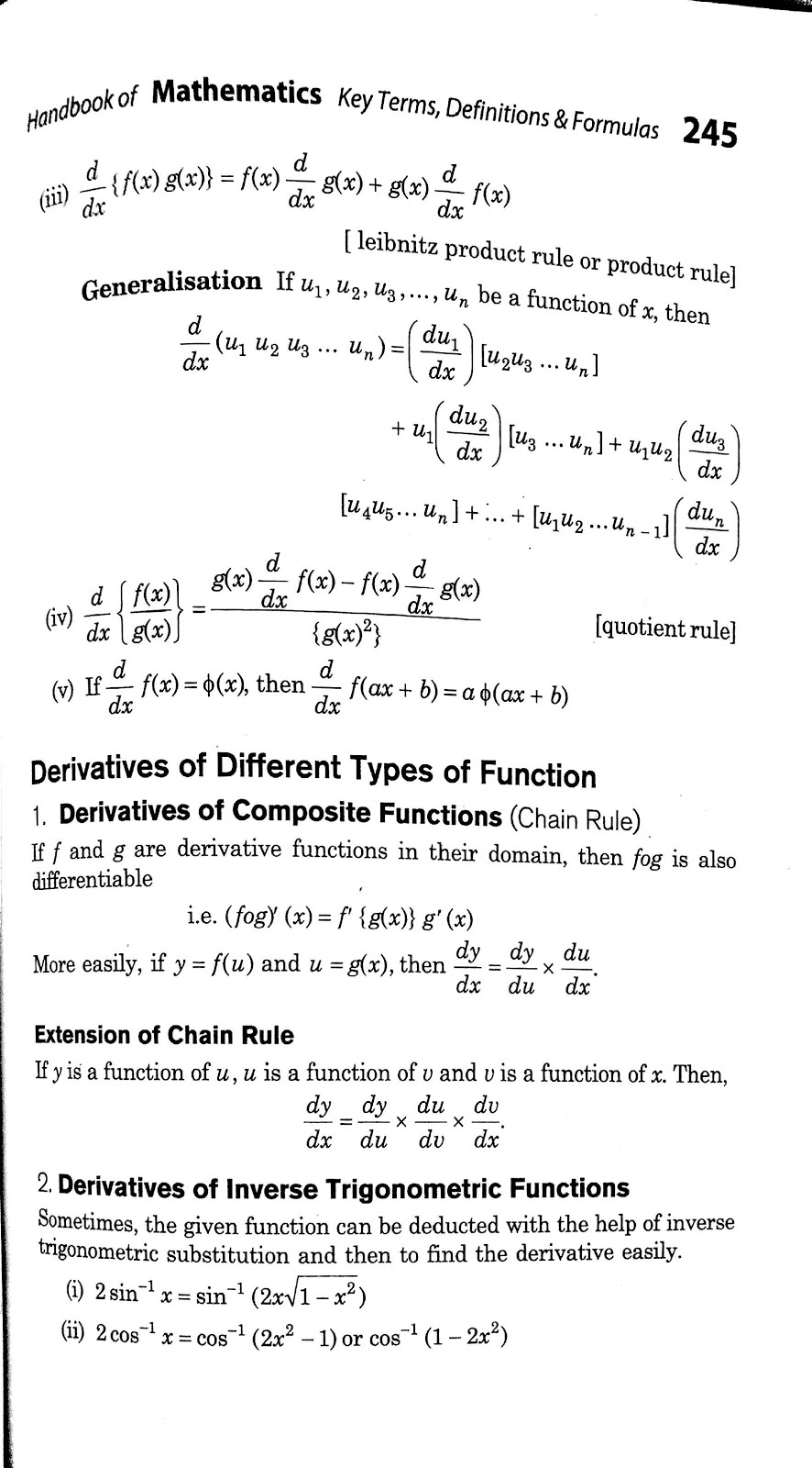 Differentiation formulas for class 12 PDF - Class 12 easy