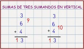 Resultado de imagen de sumas de tres sumandos en vertical