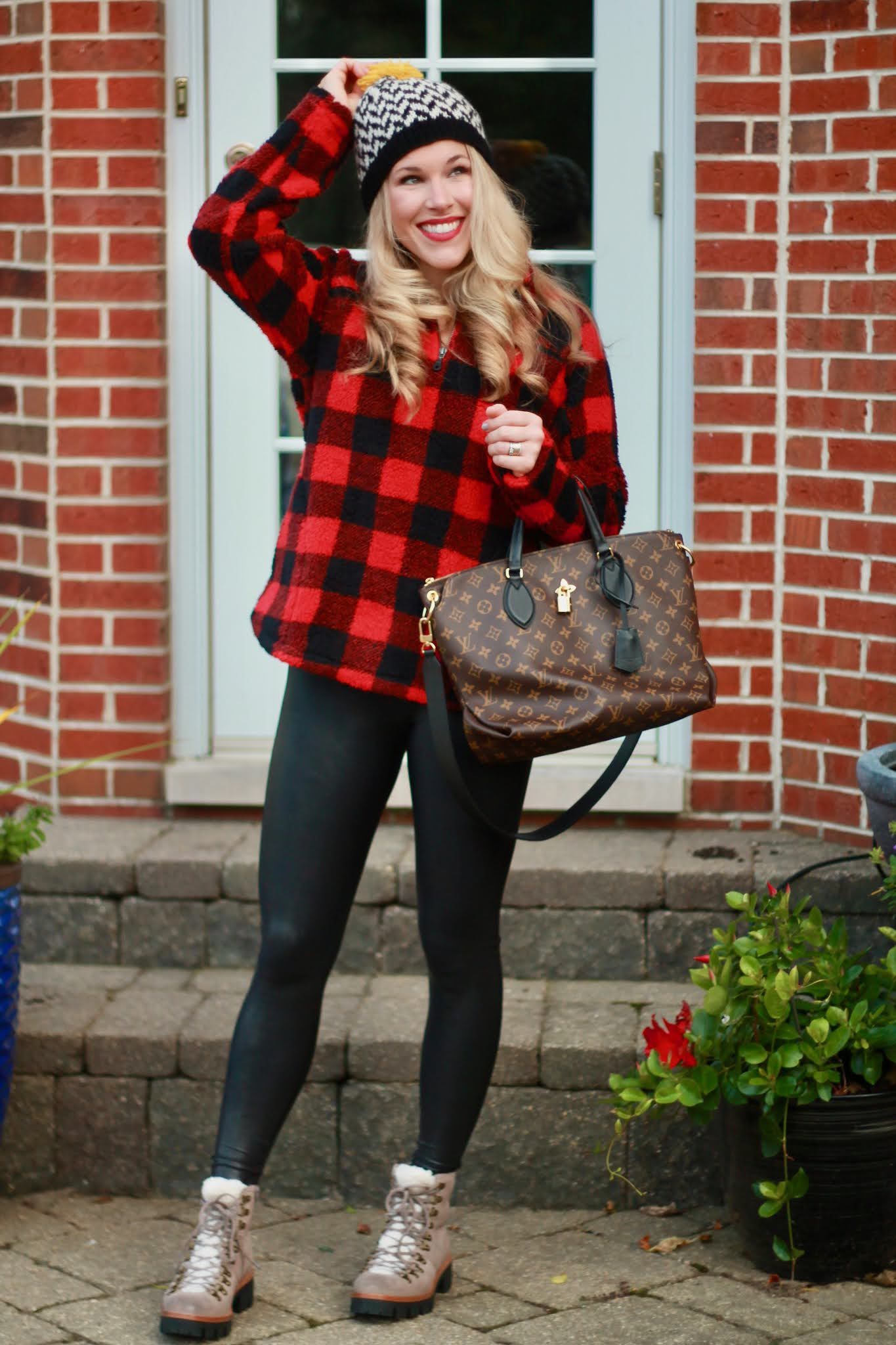 red buffalo plaid quarter zip, leather leggings, winter leather leggings outfit, grey sherpa combat boots,