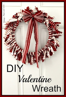 Vintage Paint and more - a Valentine's Day wreath made with an embroidery hoop and strips of fabric from a tea towel