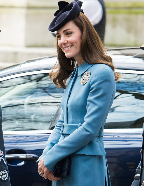Catherine, Duchess of Cambridge, Honorary Air Commandant attended a church service to celebrate 75th anniversary of the RAF Air Cadets at St Clement Danes Church