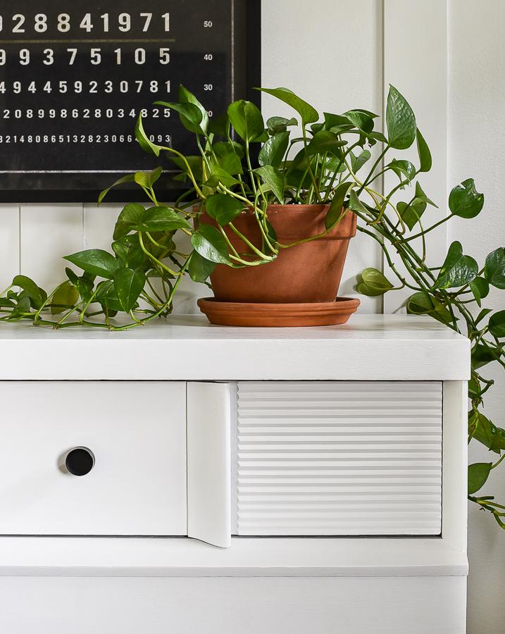 White painted mid-century modern dresser