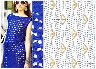 Túnica o vestido ganchillo color azul francia