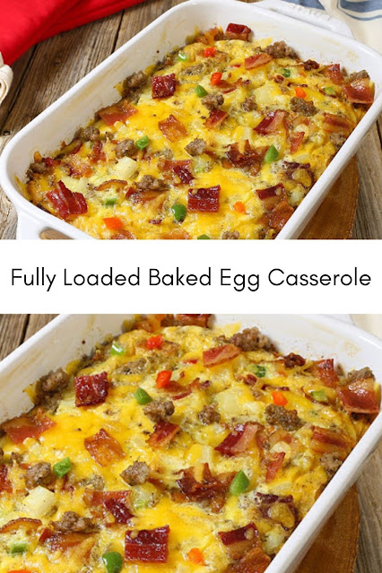 This loaded baked egg casserole goes from oven to table in an hour! Make this recipe for brunch, holiday mornings, or breakfast for dinner. INGREDIENTS 1 pound Jones Dairy Farm Cherrywood Smoked Bacon, cooked and chopped 12 ouncesJones Dairy Farm Breakfast Sausage Rolls 1 (28 ounce) package frozen cubed hash browns with peppers and onions, thawed 2 cups (8-ounces) shredded medium cheddar cheese 12 large eggs 1/2 cup whole milk 1 1/2 teaspoons kosher salt 1 teaspoon fresh ground black pepper 1 teaspoon garlic powder INSTRUCTIONS Preheat oven to 375°F. Butter a 9x13-inch baking pan. In a large skillet over medium heat, cook the sausage until browned, crumbling it with a spatula as it cooks. Add hash browns, sausage, bacon and cheese to the casserole dish. Toss to combine. In a large bowl combine eggs, milk, garlic, salt and pepper. Whisk until completely combined. Pour the egg mixture over the hash brown mixture. Bake for 35-40 minutes until a knife inserted in the center comes out clean.