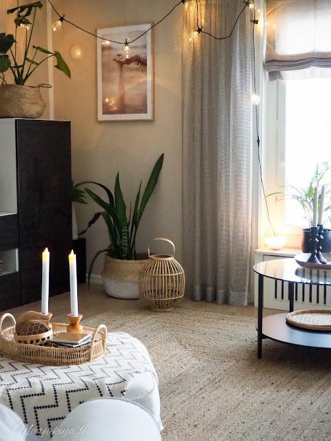 sisustus olohuone makuuhuone syksy kesän jälkeen boheemi anno villamatto kirppislöytö
