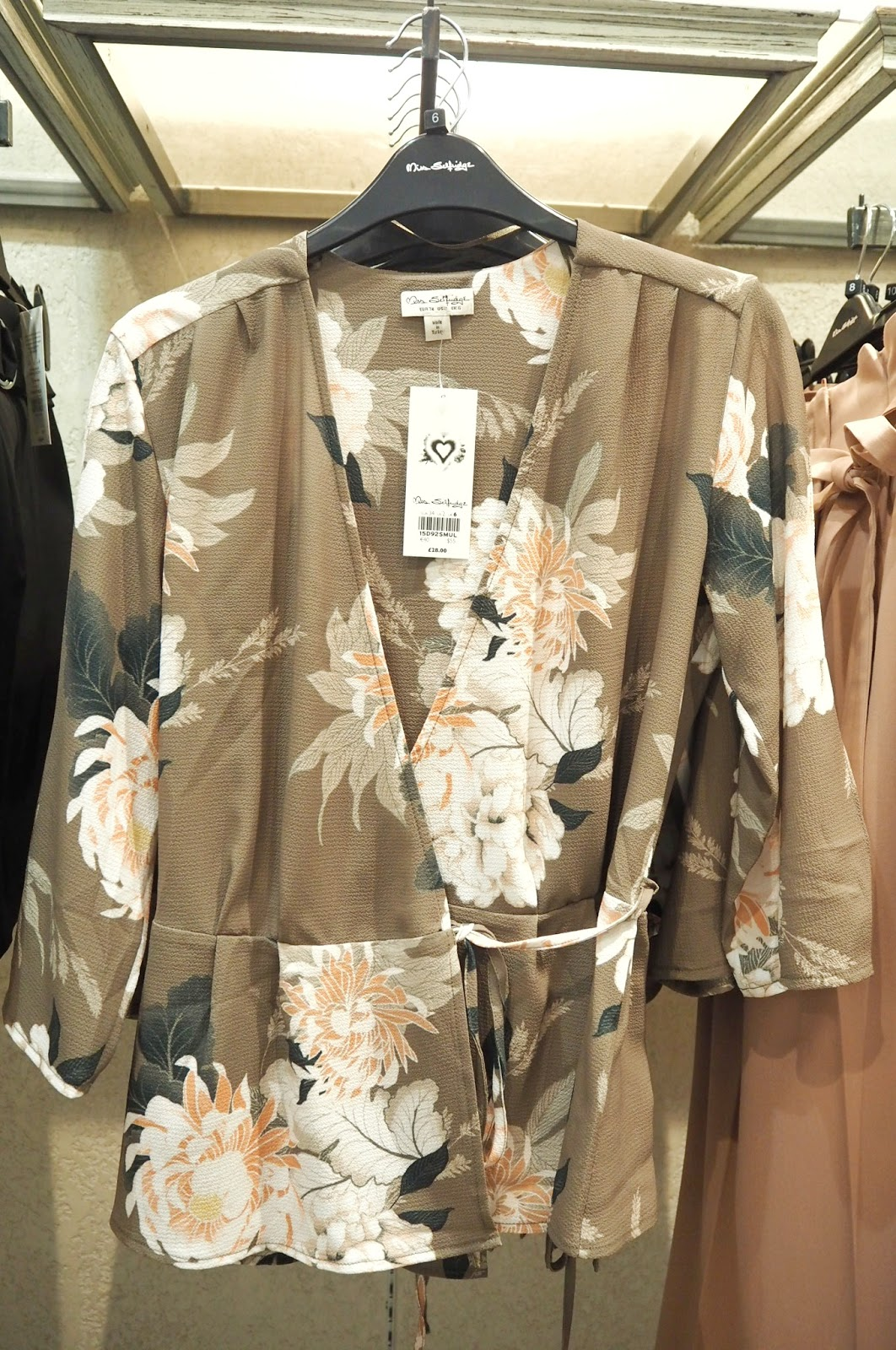 Miss Selfridge - Khaki Floral Tie Wrap Blouse