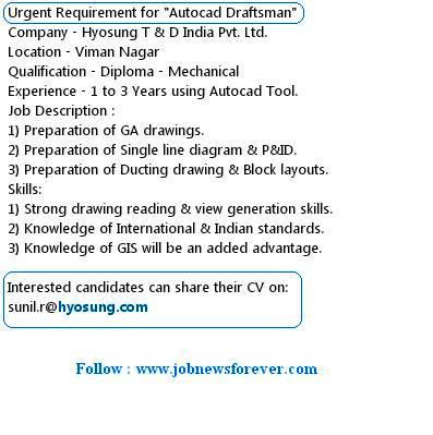 Urgent Job openings for Autocad Draftsman apply here.