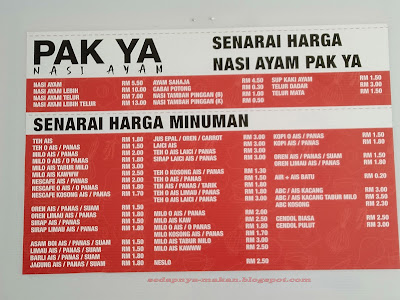 Senarai menu Pak Ya Nasi Ayam