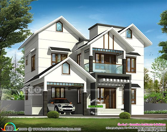 2667 square feet 4 bedroom sloping roof house plan
