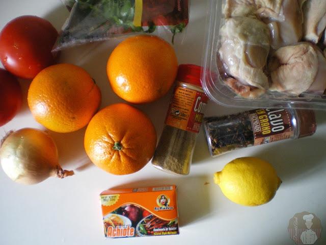Ingredientes para el pollo al achiote