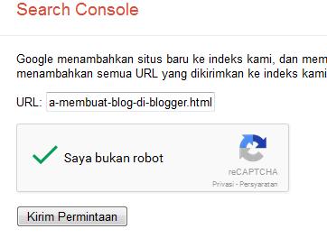 Cara Mempercepat Blog Terindeks Google url