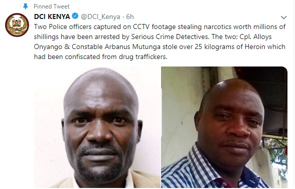 baner%2B3 - Here are the 2 COPS captured on CCTV stealing narcotics worth millions of shillings which had been confiscated from drug traffickers(PHOTOs)