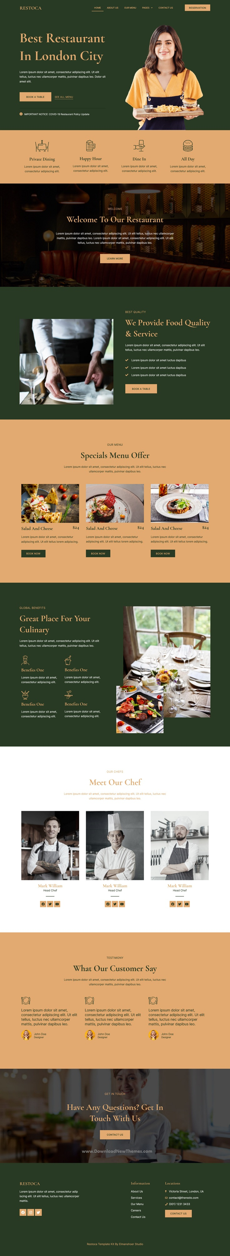 Restaurant & Cafe Elementor Template Kit