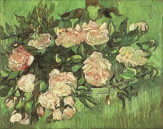 Quadro Van Gogh rose rosa