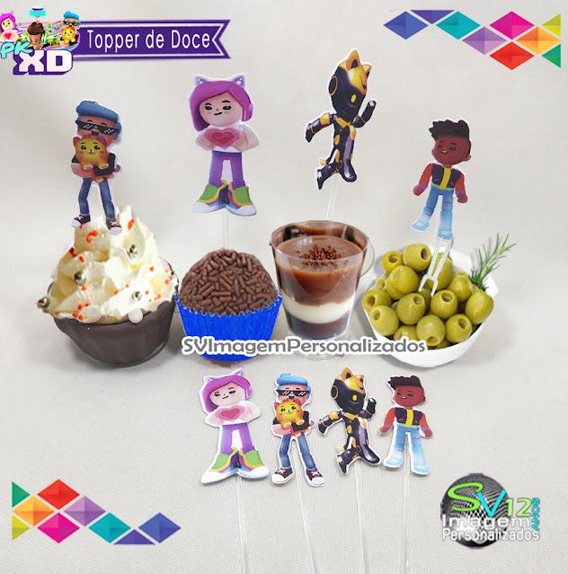 Topper para doce Pk Xd Game dicas e ideias para decoração de festa personalizados