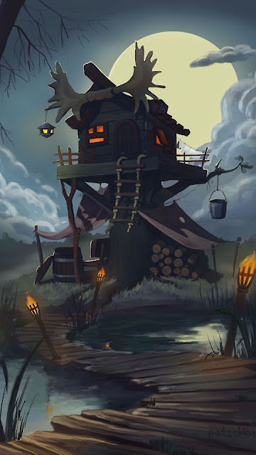 Casa Pequena, Lua, Noite, Arte