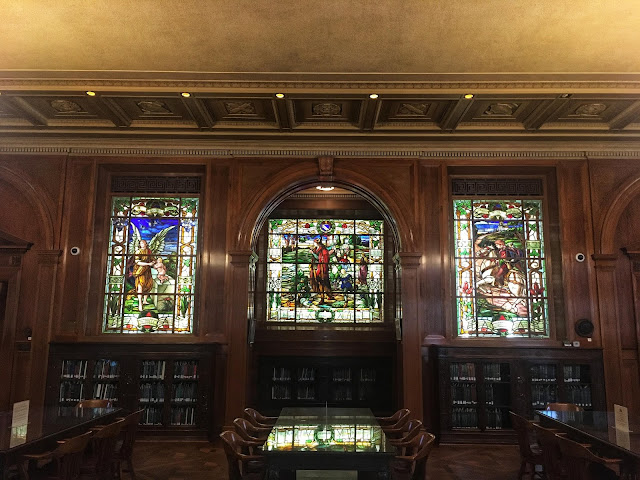 stained glass windows inside a library at Baylor University