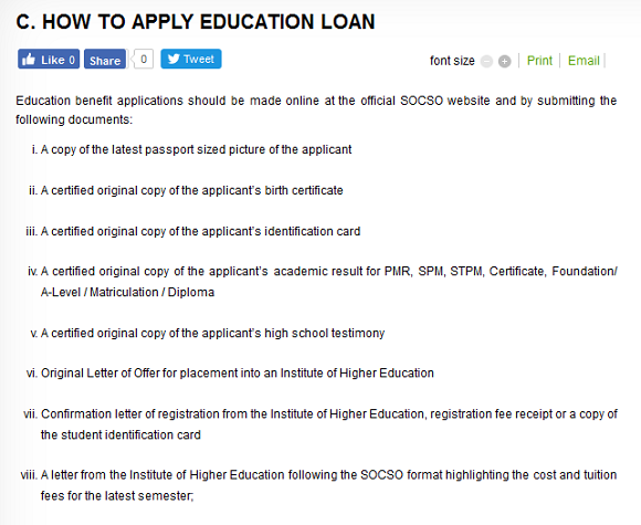 Apply Socso education loan online for student who need financial aids for continuing their studies
