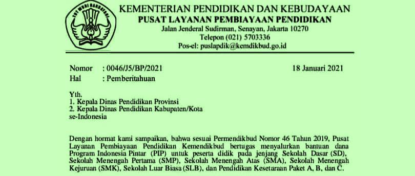 Surat Edaran Surat Edaran perihal Cut Off Dapodik Untuk Usulan PIP Tahun  SURAT EDARAN TENTANG CUT OFF DAPODIK UNTUK USULAN PIP TAHUN 2021