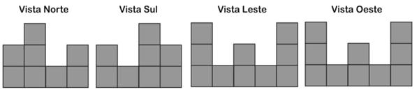 Quatro amigos observam uma pilha de caixas em formato cúbico. Cada um deles posiciona-se a Norte, Sul, Leste e Oeste da pilha, respectivamente.