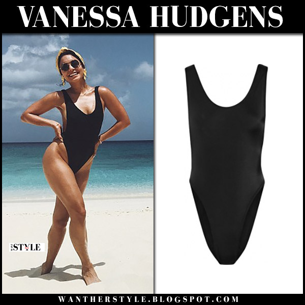 Vanessa Hudgens in black one piece swimsuit norma kamali marissa beach style july 11