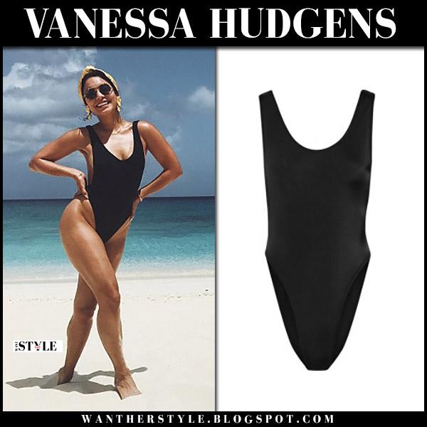 Vanessa Hudgens in black one piece swimsuit norma kamali marissa beach style july 11