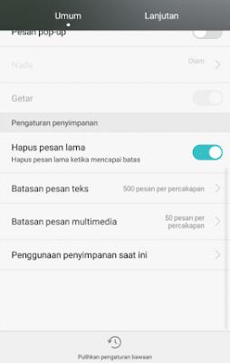 Menghapus pesan lama untuk menghemat memori internal android