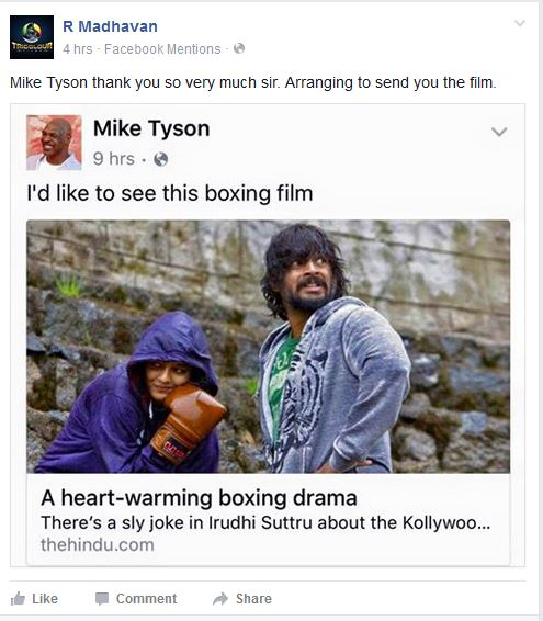 माइक टाइसन ने फेसबुक पोस्ट पर माधवन की 'साला खड़ूस' की तारीफ की