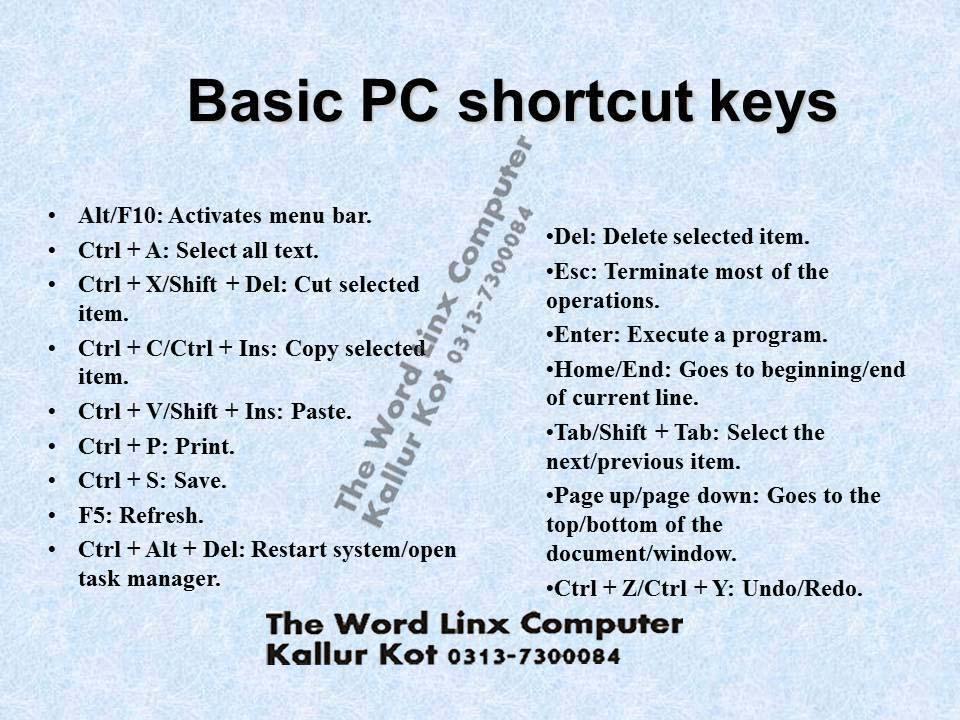microsoft office 2016 excel shortcut keys
